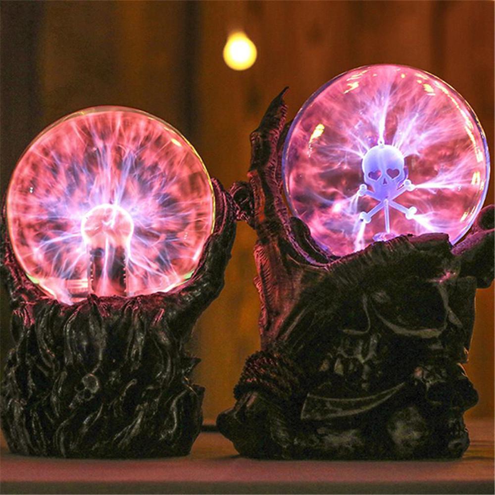 6.7 Inch Magic Skeleton Plasma Ball Sphere Light Crystal Light Magic Desk Lamp Decor