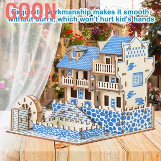 Goon Delicate Wooden House Model DIY 3D Assembled Jigsaw Developmental Kids Toys