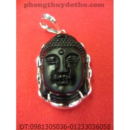Mặt dây chuyền – Phật Tổ đá Đen bọc bạc 4,5 x 3 cm