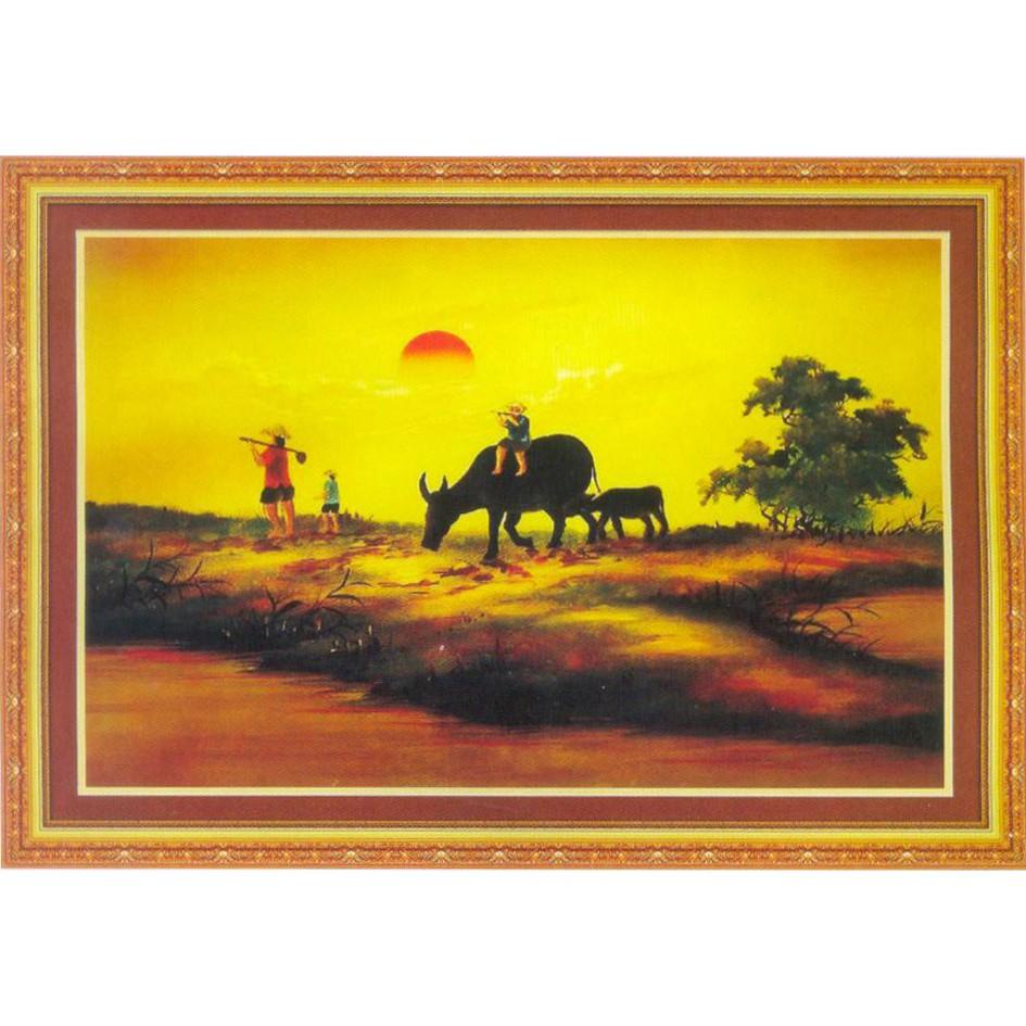 Tranh thêu chữ thập Chiều Hoàng Hôn Chăn Trâu 222158