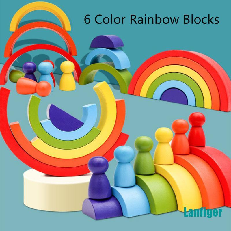 【Lanfiger】Kids Wooden Rainbow with 6 Wood Sorting Color Portable Montesori Handicraft Toys