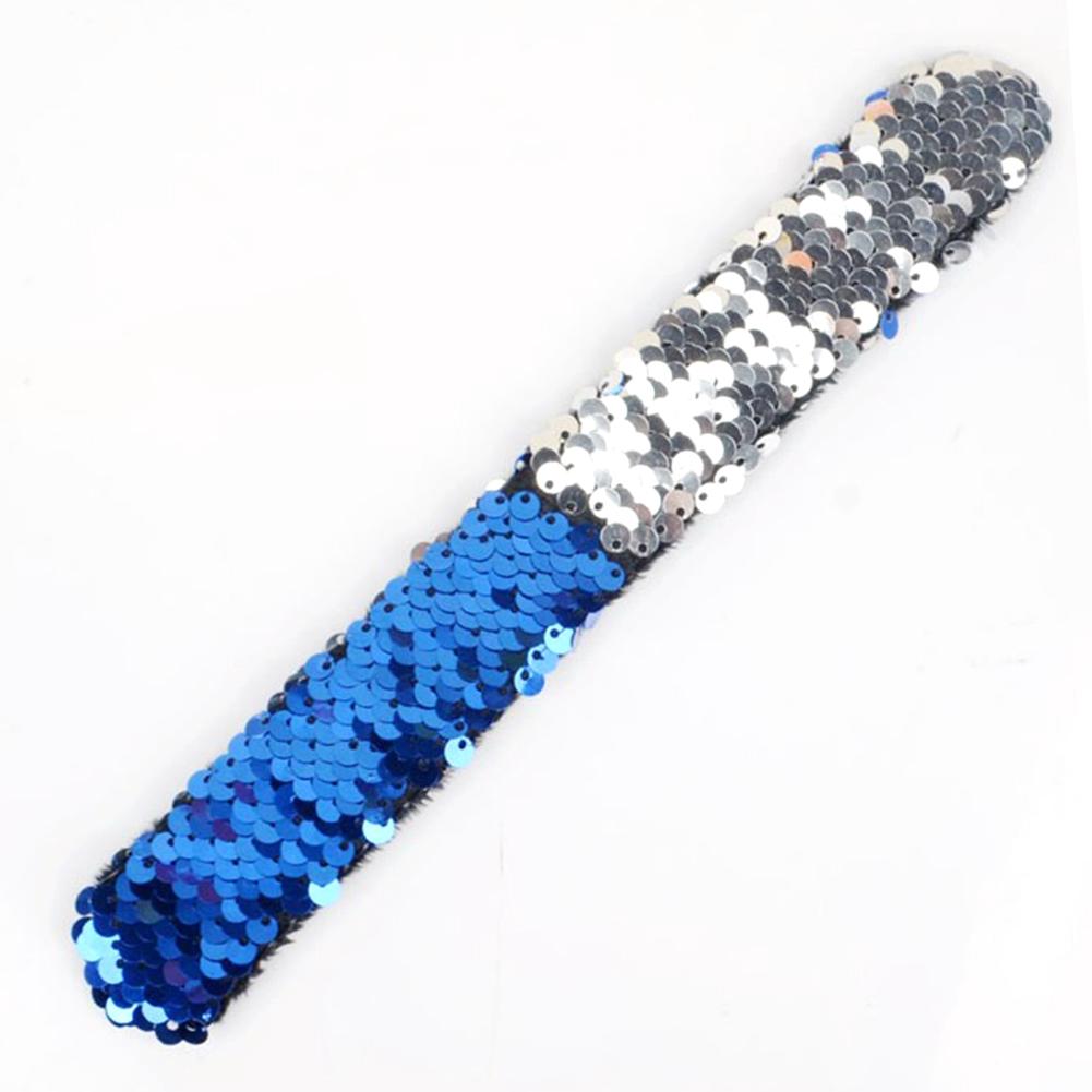 12 PCs Sequins Fashion Round Bracelets Wristband Jewelry Two-tone Cute Gift Unisex Clap Ring Slap Wax Line Charm