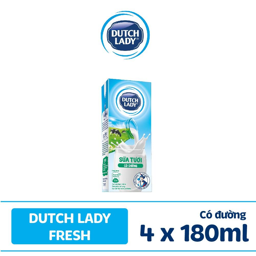 Lốc sữa tươi tiệt trùng Dutch Lady Fresh có đường 4x180ml