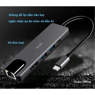 Bộ Adapter cáp chuyển Type-C sang HDMI 4K/USB3/TypeC/10Gbps Ethernet(RJ45 Port), 4 trong 1 cho Macbook, iPad