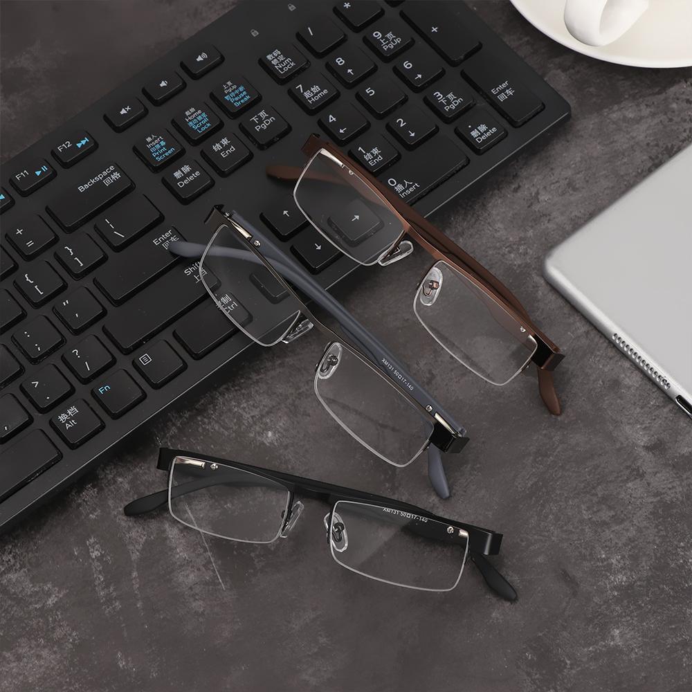 🎈FUTURE🎈 Men Eyeglasses Magnifying +1.00~+4.0 Diopter Business Reading Glasses Flexible Portable Ultra Light Resin New Fashion Metal Titanium Alloy Eye...