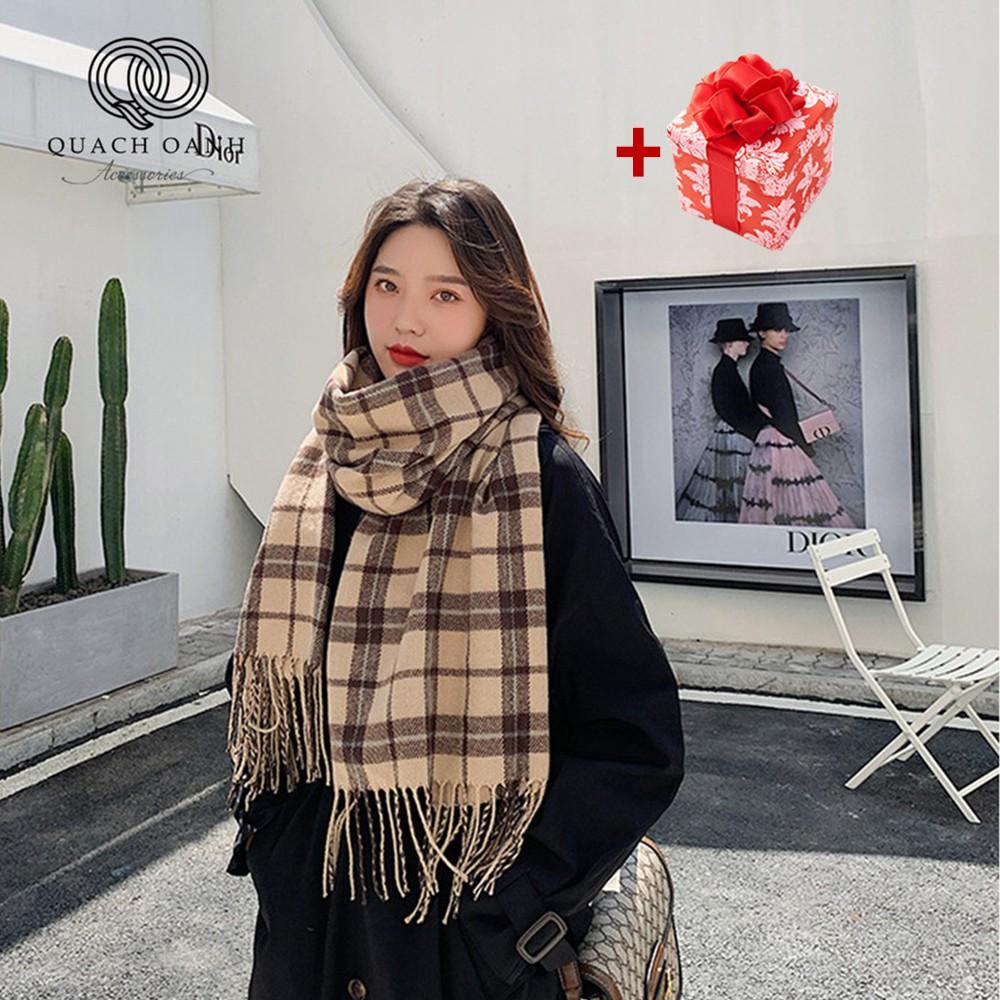 Khăn choàng cashmere kẻ sọc tua rua phong cách Hàn Quốc - KH09
