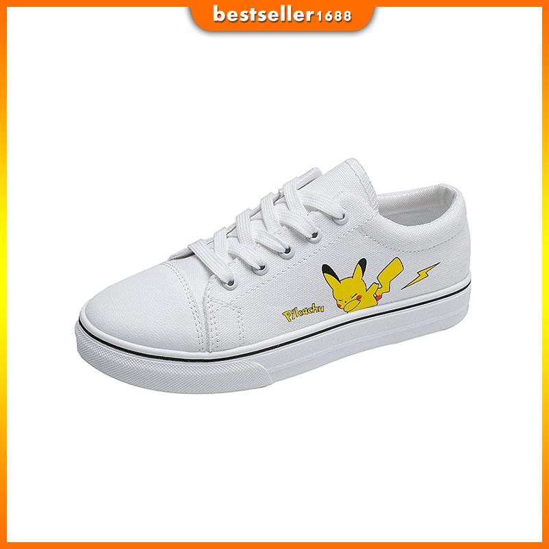 Giày Vải Canvas Đế Bằng Mũi Tròn In Hình Pikachu Dễ Phối Đồ Thời Trang Phong Cách Hàn Quốc