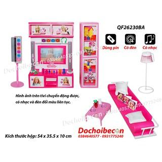 Bộ phòng khách Barbie (Sofa) QF26230BA – Dùng pin – Tivi chuyển động, có đèn nhạc