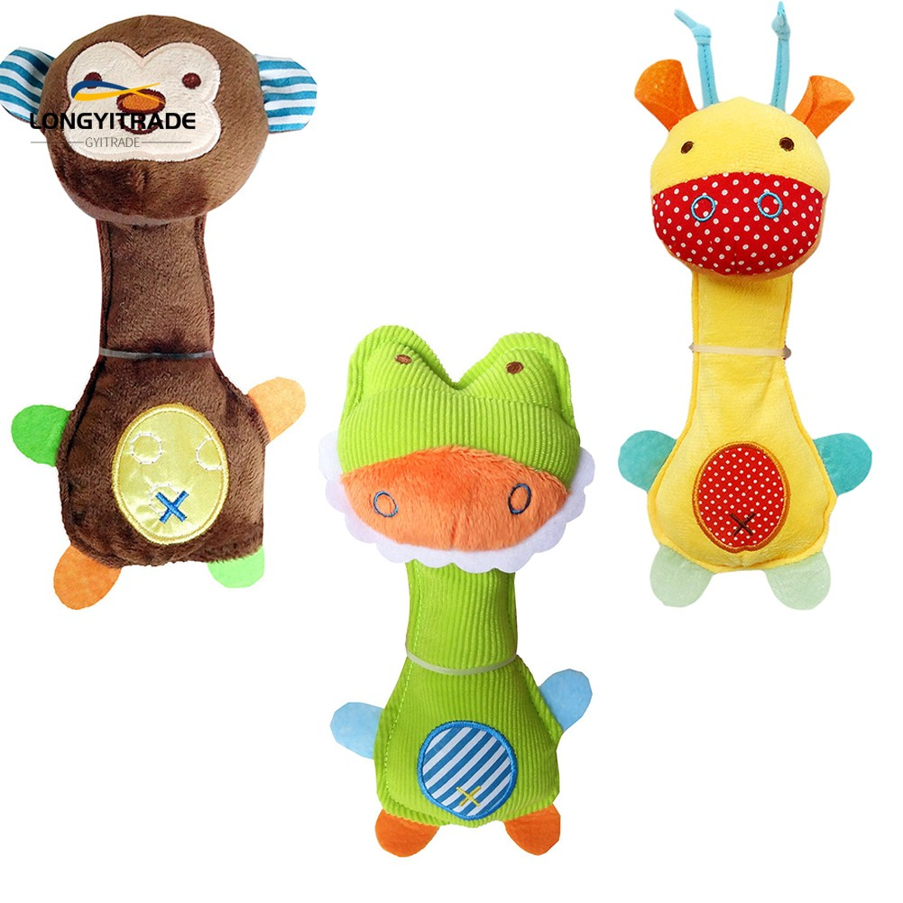 Plush Giraffe  Doll Hand  Graping BB Stick Educational Toy
