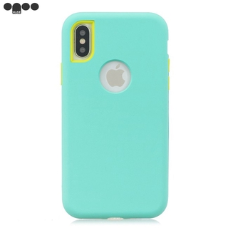 For iPhone XR 3 in 1 Fashion Candy Color PC+ Silicone Dustproof Anti-fall Protective Back Case