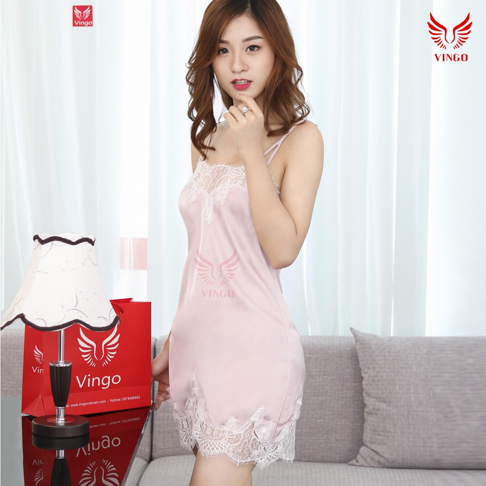 Váy ngủ sexy 2 dây phối ren cao cấp thương hiệu Vingo