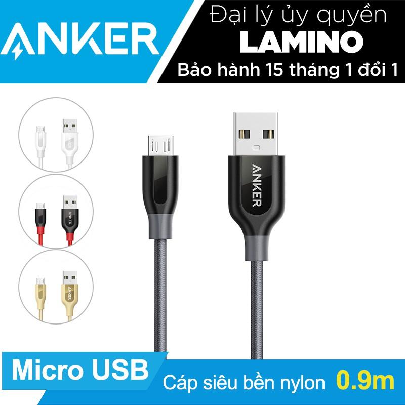 Cáp siêu bền nylon ANKER PowerLine+ Micro USB dài 0.9m - [Có bao da] - Hãng phân phối chính thức