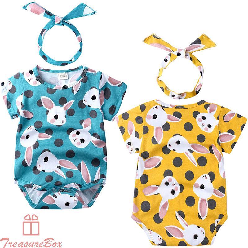 Girls Jumpuit+headband Infant Beach Summer Short Sleeve Jumpuit+headband Fashion