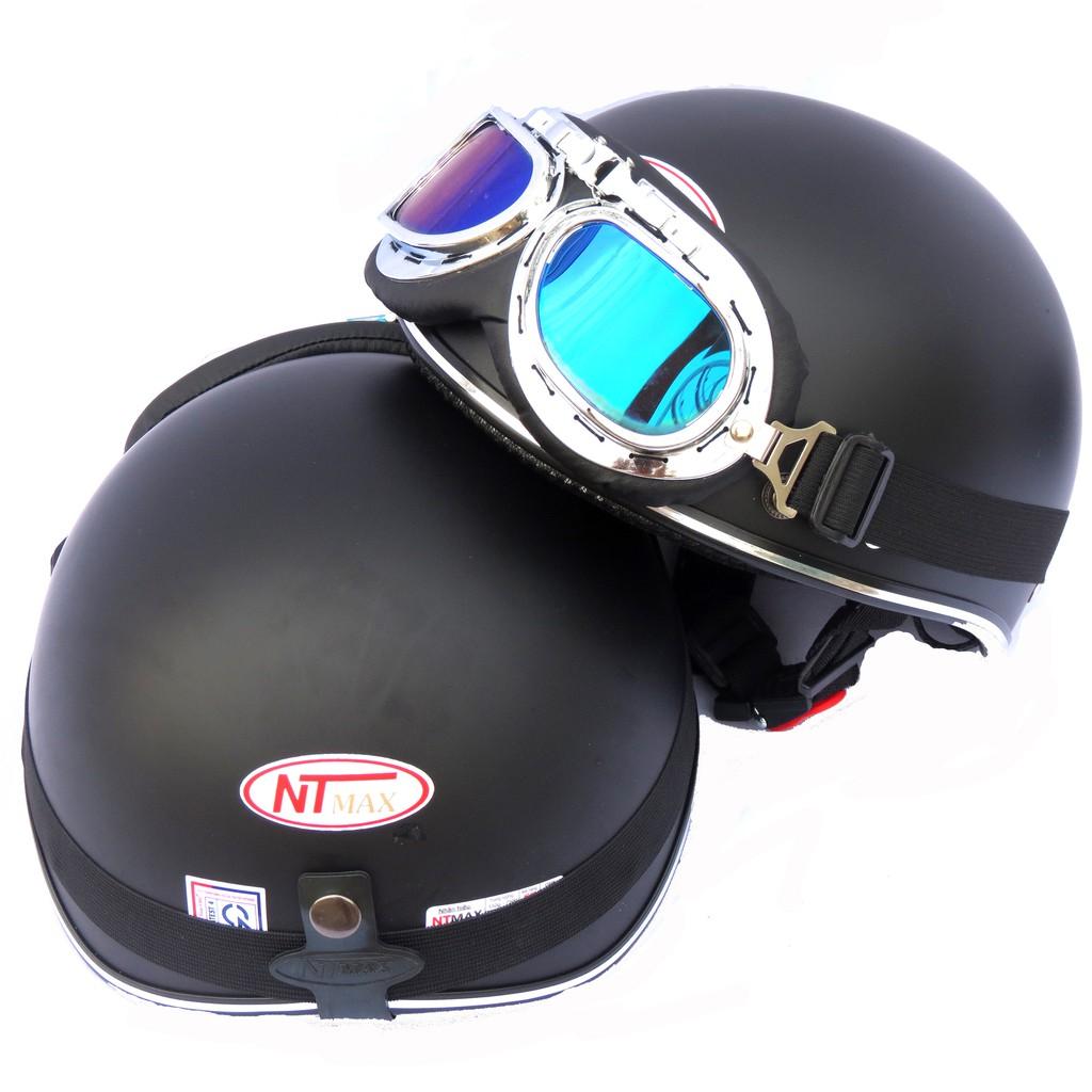Mũ bảo hiểm 1/2 NTMAX Trơn ( nhiều màu) + kính phi công hoặc kính uv400