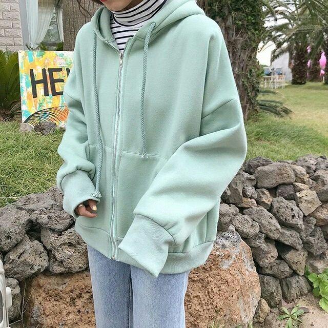 Áo khoác hoodie xanh ngọc 40kg - 100kg
