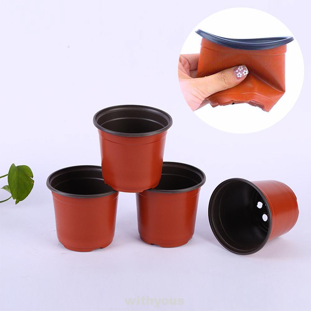 100Pcs Drain Garden Plastic Transplant Seedling Reusable Flower Pot