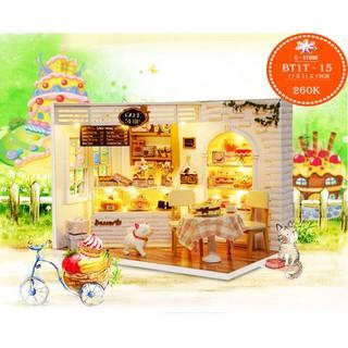 Mô hình nhà búp bê DIY – tiệm bánh Cake Shop với mèo trắng xinh