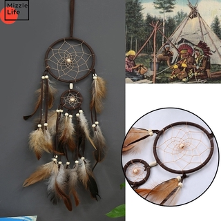 Mizzle Native American Home Decor Dream Catchers Brown Handmade Feather Dreamcatcher 2 Circular Net for Car Kids