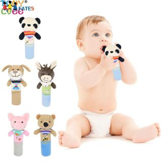 Soft Cartoon Animal Design Plush Baby Rattles Hand Bell Infant Toddler BB Stick Toys