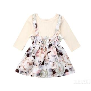 Mu♫-Infant Kids Baby Girl Long Sleeve Casual Tops Dress Skirt Outfits Set Clothes
