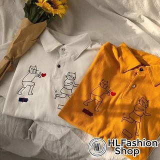 Áo thun tay lỡ unisex T-shirt cổ trụ hình 2 em mèo bắn tim siêu xinh siêu lạ thumbnail