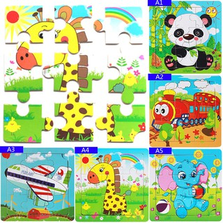 SUN11❤ Baby kids intelligence development animal wooden brick puzzle toy fu