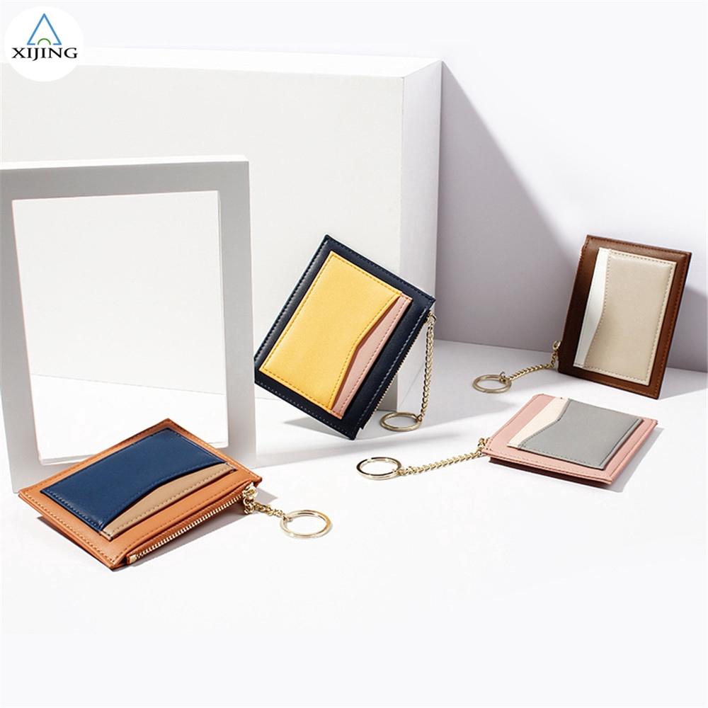 Ví đựng tiền/thẻ mini có khóa kéo thiết kế nhiều màu thời trang dành cho nữ