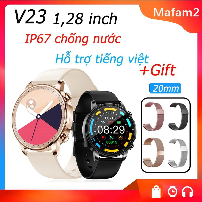 Đồng hồ thông minh V23 Bluetooth 5.0 màn hình cảm ứng tròn 1.3 inch chống nước IP67 theo dõi tập thể dục cho nữ
