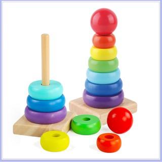 Đồ chơi Tháp xếp cầu vồng gỗ size nhỏ cho bé, tăng khả năng sáng tạo [MVB]