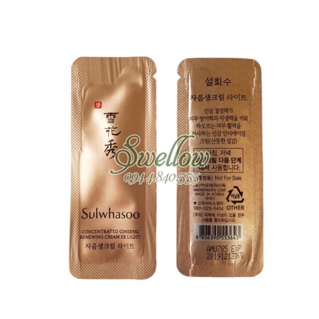 10 gói kem dưỡng chống lão hoá tái tạo da SULWHASOO nhân sâm concentrated Ginseng renewing cream EX