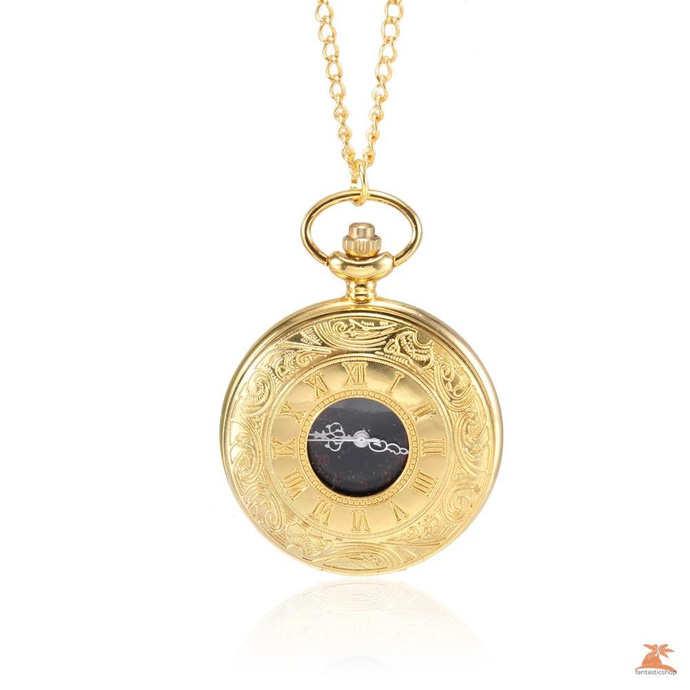 #Đồng hồ bỏ túi# Men Women Quartz Pocket Watch Golden Rome Number Carved Case with Chain