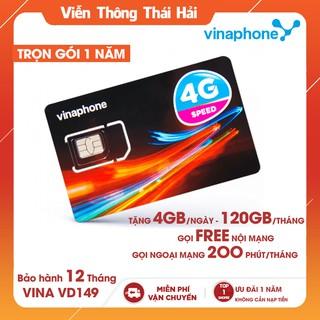 { TẶNG 4GB/ NGÀY } SIM 4G Vinaphone VD149 Miễn Phí 12 Tháng, Gọi 200 Phút Ngoại Mạng và Free Vina