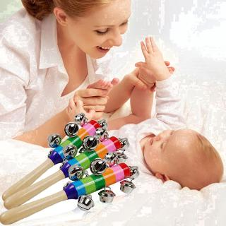 Baby kid pram crib handle wooden bell stick shaker rattle toy