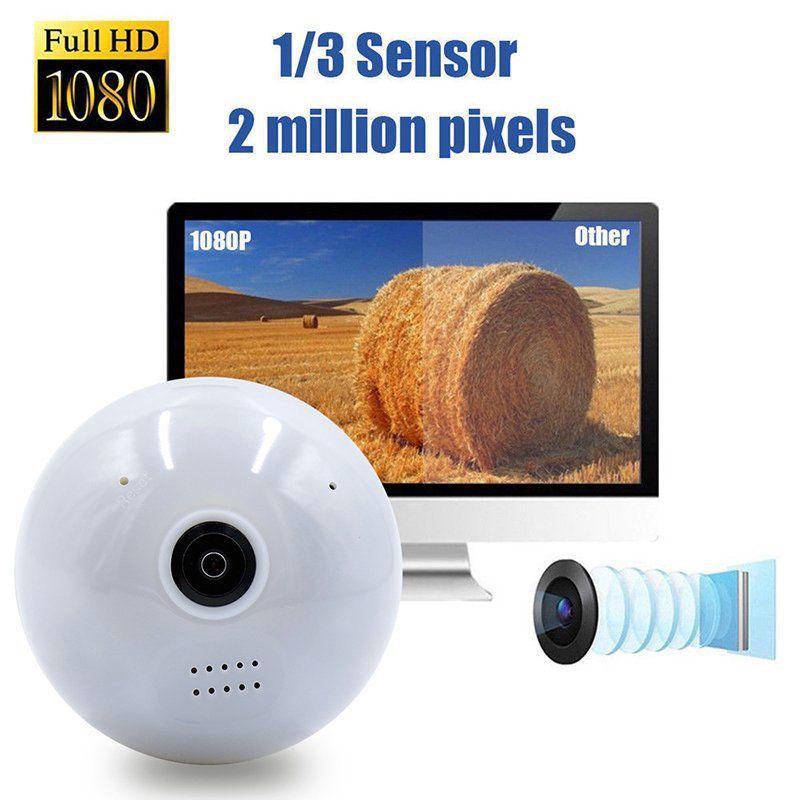 360 Degree Panoramic 1080P HD Hidden Wifi Camera Light Bulb Motion Sensor Camera