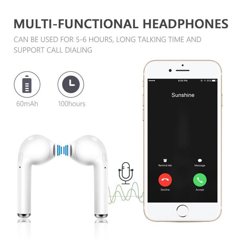 Tai nghe i7s TWS không dây kết nối bluetooth âm thanh nổi kèm hộp sạc cho các dòng điện thoại thông minh