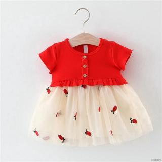 Đầm xòe tay ngắn thêu họa tiết trái dứa xinh xắn cho bé gái
