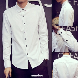 Business Button Casual Daily Long Sleeve Slim Solid Spring Men Shirt