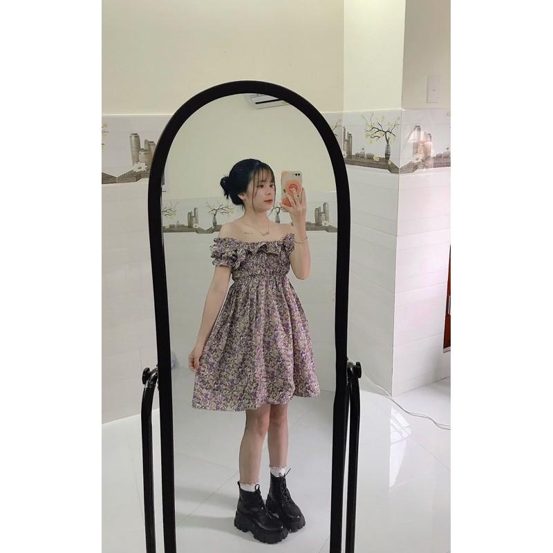 Váy hoa nhí, đầm trễ vai tay ngắn loe vải voan hoa xinh cực