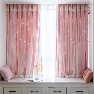 Rèm cửa sổ nổi Lưới Cửa Sổ Màu Đỏ phòng ngủ cô gái bức màn ngắn ins rỗng ngôi sao công chúa phong cách tất cả che bóng p