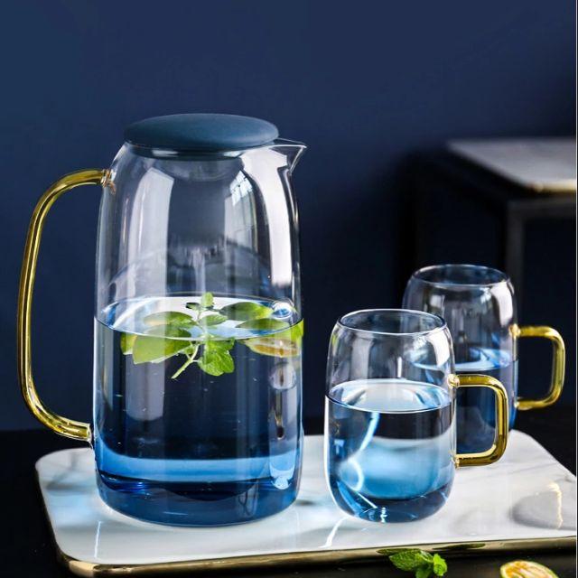 Combo 1 bộ bình 6 cốc thủy tinh Ocean đại dương đổi màu xanh nước biển đẹp  | Shopee Việt Nam