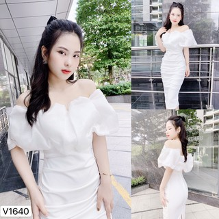Váy body trễ vai viền bèo kính trắng sang chảnh dự tiệc V1640 ĐẸP HP FASHION
