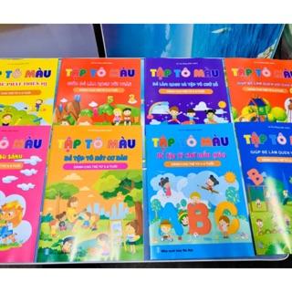 (SALE)[Tặng 2 bút chì gỗ] Bộ 8 quyển tô màu dành cho bé 5-6 tuổi phát triển trí tuệ thumbnail