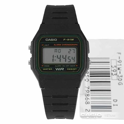 Đồng hồ điện tử nam nữ Casio F91w dây nhựa đen