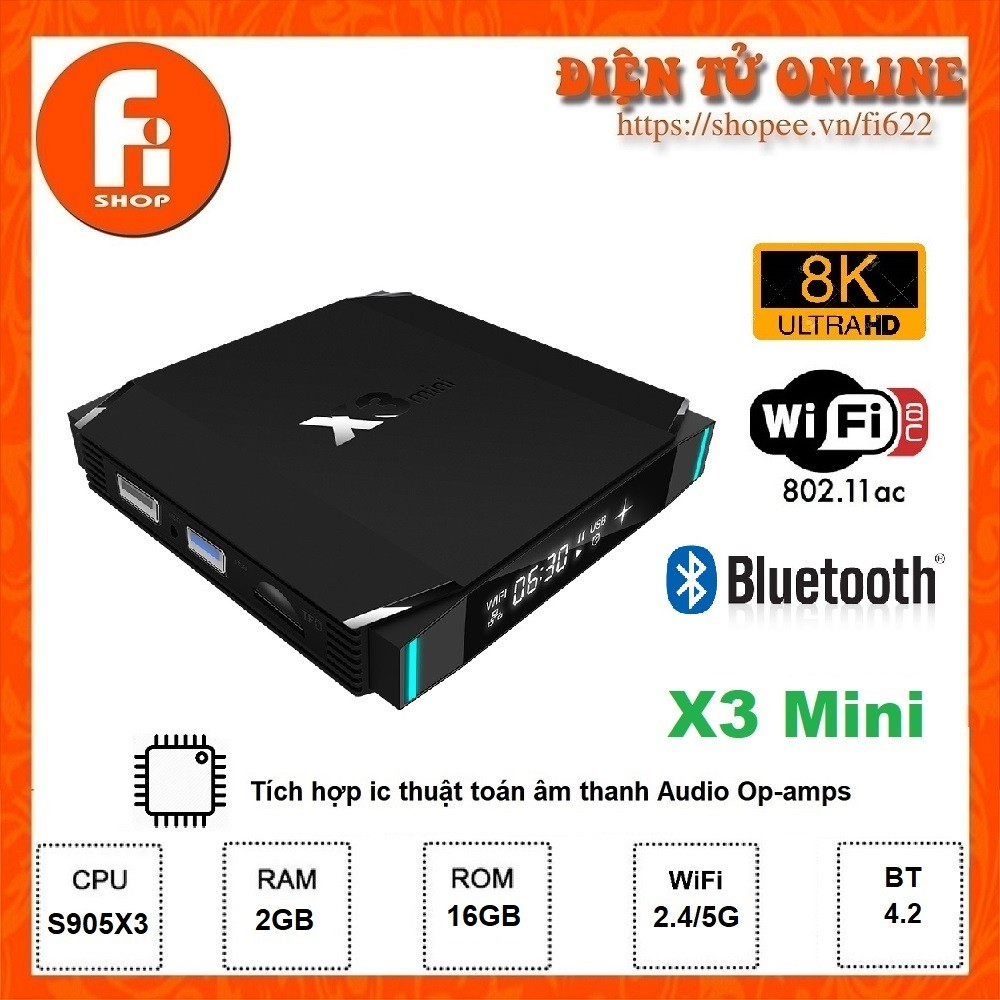 Android TV Box X3 Mini - Amlogic S905X3, 2GB Ram, 16GB bộ nhớ trong, Android TV 9.0