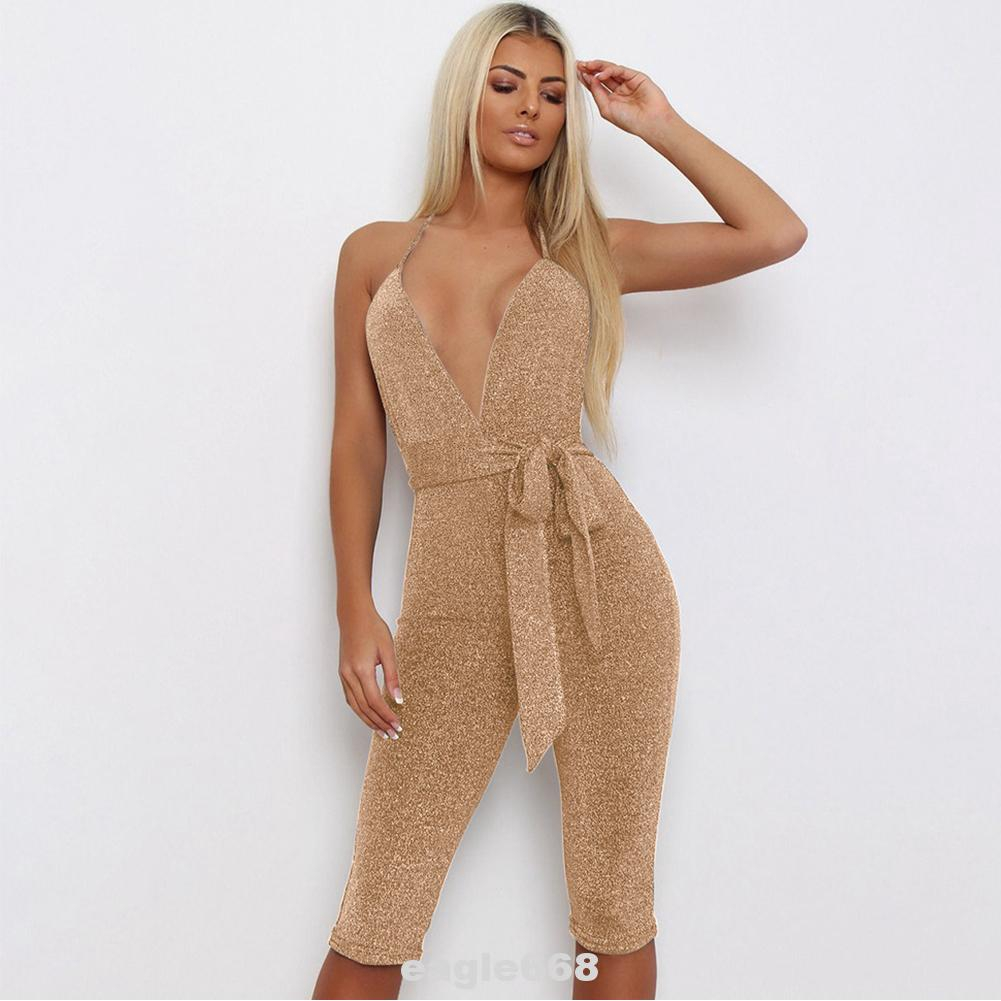 Backless Bodycon Cocktail Deep V Neck Evening Party Fashion Halter Sleeveless Sequin Slim Fit Women Jumpsuit