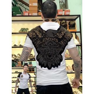 Áo phông, áo cộc tay nam có cổ thêu chim đại bàng tung cánh nổi siêu cấp