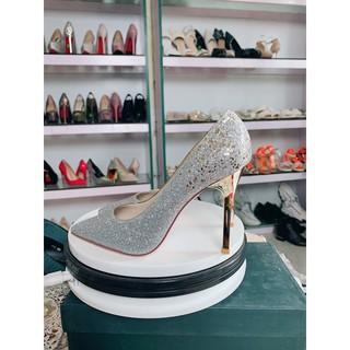 Giày cao gót Kim Tuyến Trắng đế nhọn 10p sang chảnh Loại 1