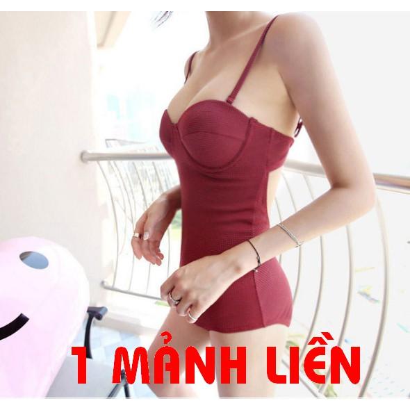 Bộ Bơi Bikini Đi Tắm Biển Nữ Liền Mảnh gọng ngực Đỏ mận Bi16 | SaleOff247