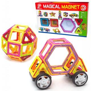 Đồ chơi Xếp hình Nam Châm Trí Tuệ Thương hiệu Magical Magnet 40 chi tiết (pcs) cho trẻ từ 3+ nhựa ABS chống va đập
