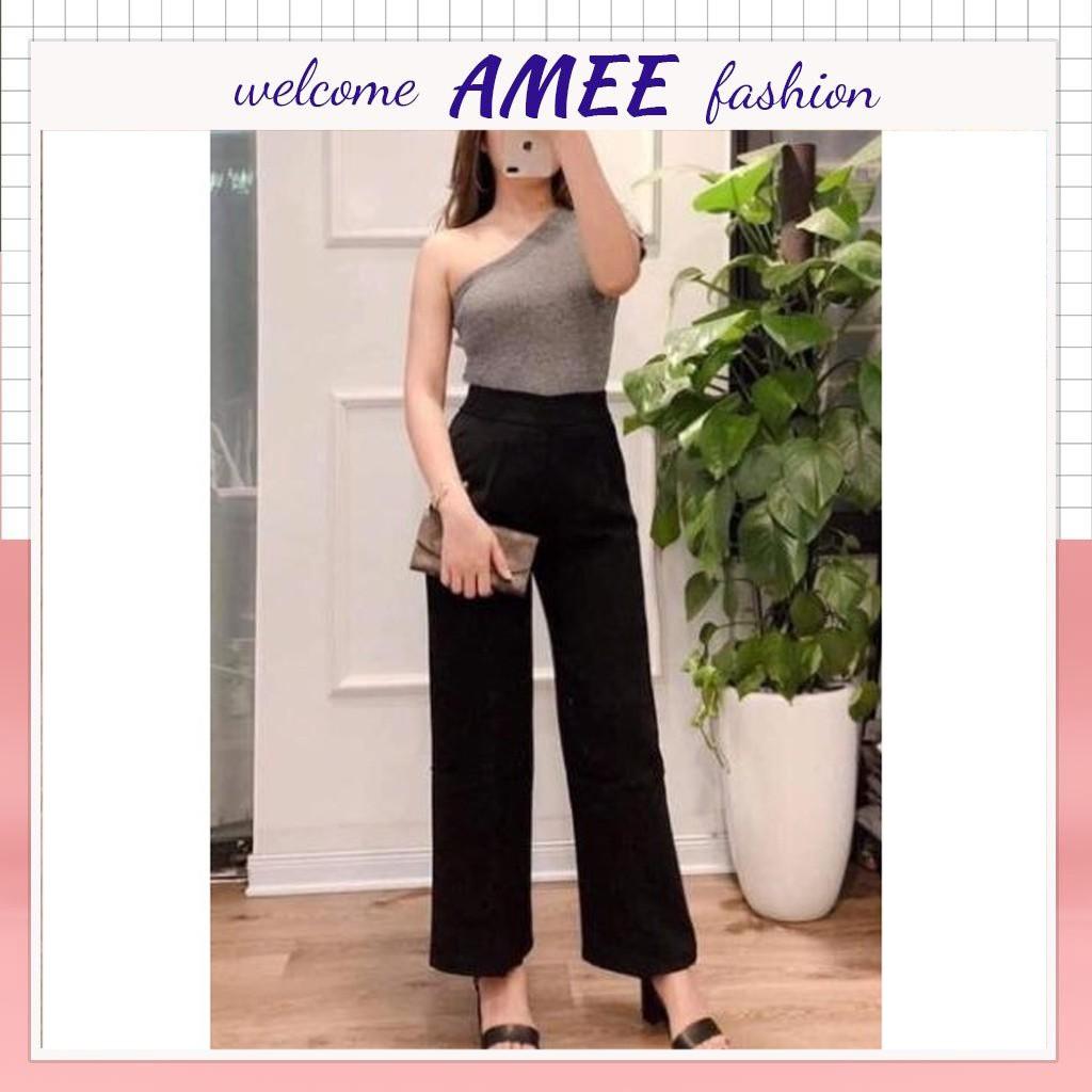 QUẦN ỐNG RỘNG KHOÁ SƯỜN SIÊU SANG Amee Fashion